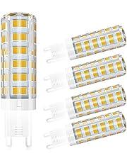 5 Pack LCLEBM G9 LED Bulbs, 60W G9 LED Light Bulbs, 550LM white 4500K, AC 110V 120V 5W G9 ceramic base, 360-degree beam angle for ceiling light, base cabinet,desk lamp No flickering
