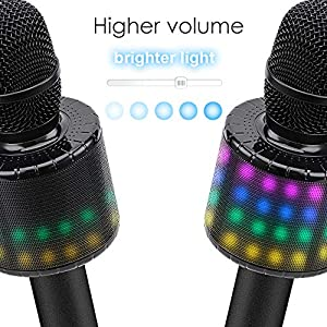 BONAOK Wireless Bluetooth Karaoke Microphone with Multi-color LED Lights, 4 in 1 Portable Handheld Karaoke Speaker Machine for Android/iPhone/iPad/Sony/PC or All Smartphone(Rose Gold) by BONAOK