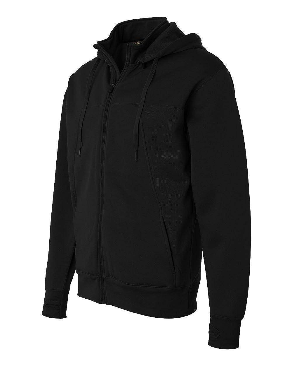 M Mens Hi-Tech Full-Zip Hooded Sweatshirt Independent Trading Co Black