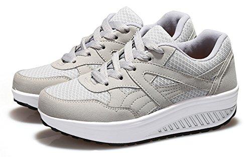 Ausom Womens Plate-forme Élégante Cales Chaussures De Tonification Marche Fitness Travailler Sneaker Gris Clair