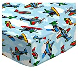SheetWorld Fitted Pack N Play Sheet Fits Graco Square Playard 36 x 36 – Kiddie Airplanes – Made in USA Review