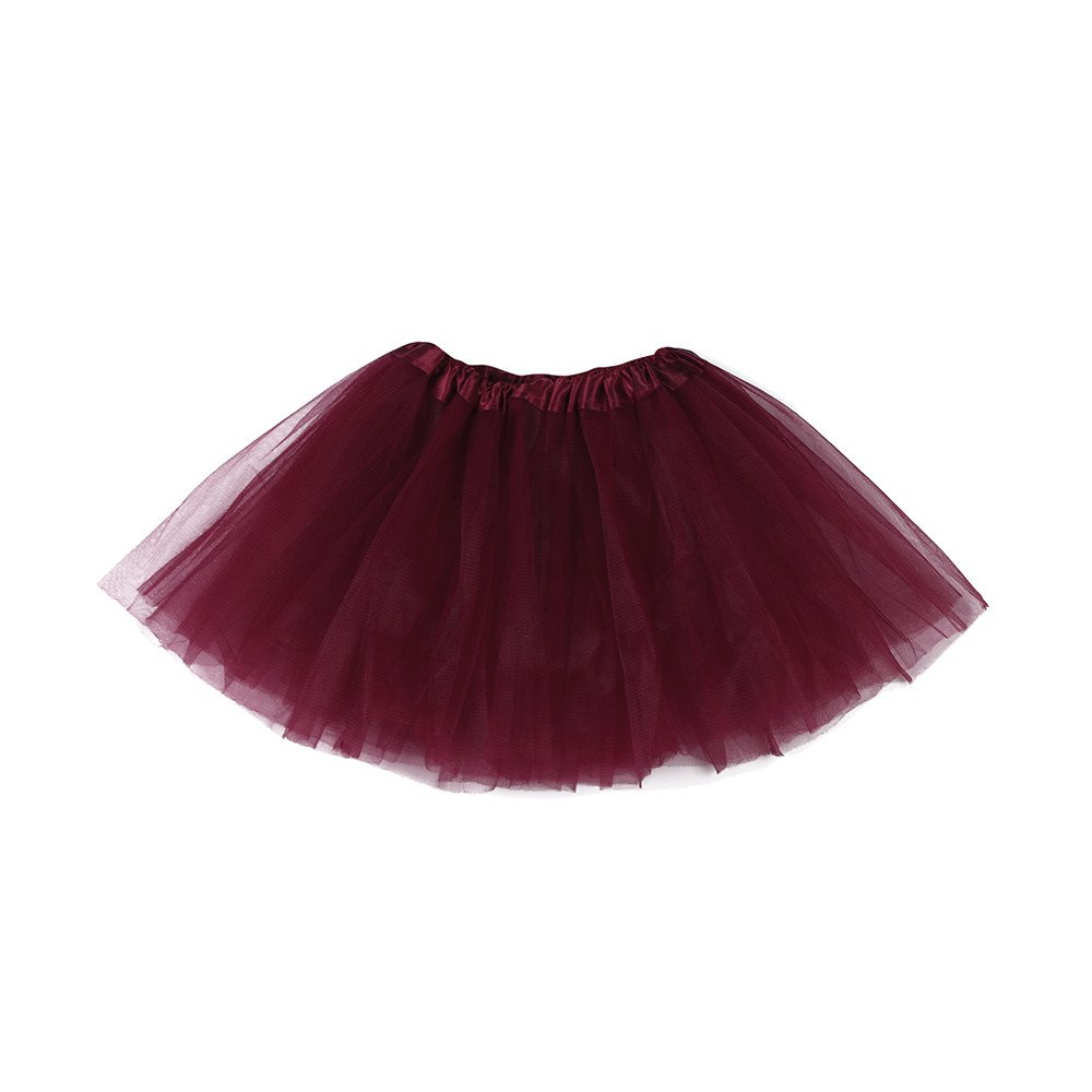 aliveGOT Girls Vintage Ballet Bubble Skirt Tulle Petticoat Puffy Tutu Dance Dress (Wine)