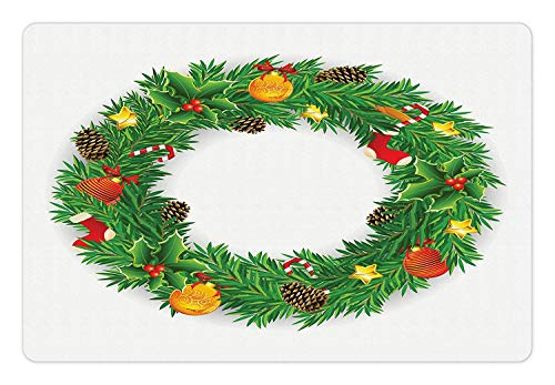AVOASS Christmas Pet Mat for Food and Water, Festive Wreath Evergreen with Candy Cane Stockings Mistletoe Berries on Door, Rectangle Non-Slip Rubber Mat for Dogs and Cats, Green White (Stocking Evergreen)
