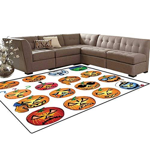 Halloween Bath Mats Carpet Carved Pumpkin with Emoji Faces Halloween Inspired Humor Hipster Monsters Artwork Girls Rooms Kids Rooms Nursery Decor Mats 5'x8' Orange]()