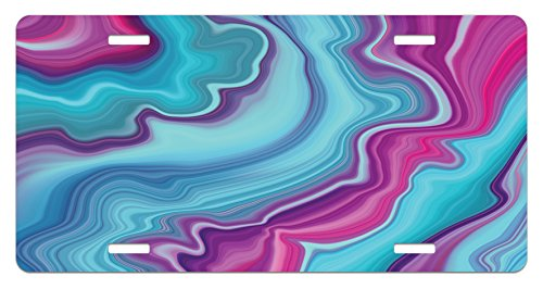 Ambesonne Marble License Plate, Abstract Color Formation Wavy Aqua Pink Lines Agate Slab Mineral Layers Geographic, High Gloss Aluminum Novelty Plate, 5.88 L X 11.88 W Inches, Aqua Pink