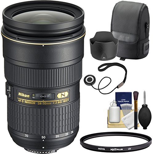 Nikon 24-70mm f/2.8G AF-S ED Zoom-Nikkor Lens with Hood & Pouch Case + Filter Kit for D3200, D3300, D5300, D5500, D7100, D7200, D750, D810 Cameras (Nikkor 24 70mm F 2-8 G Ed)