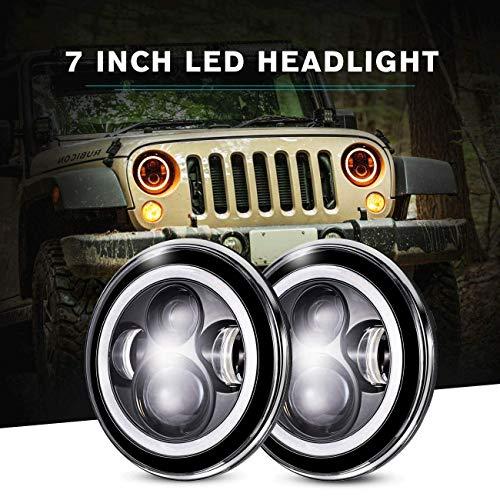 IRONWALLS 2PCS DOT Approved 7'' inch Led Headlights Headlamps Angel Eye Round Halo Black For Jeep Wrangler JK CJ TJ LJ 2 Door 4 Door Land Rover Hummer