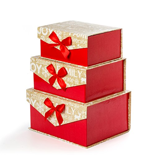 Sunbright Christmas Decorative Gift Boxes with Bows Magnetic Closure for  Gift,Giving, Red/ Gold, Set of 3