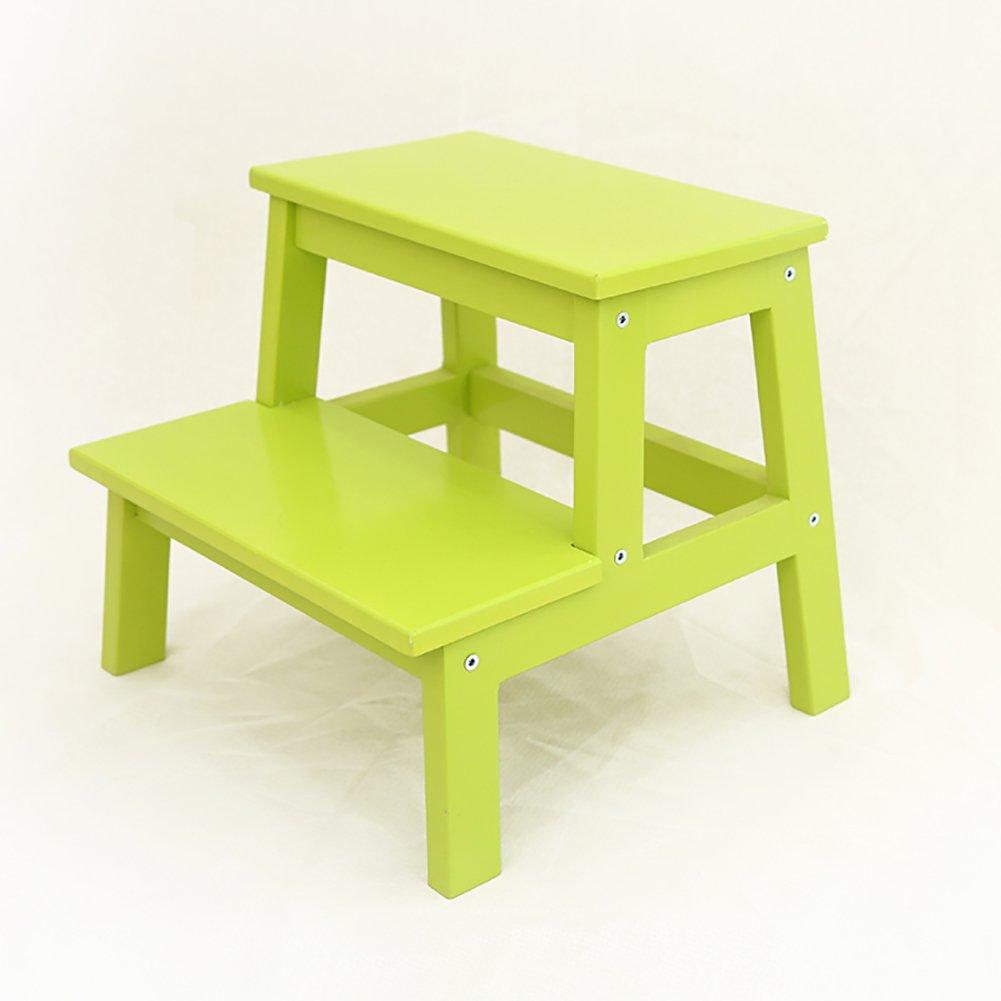 はしご便 すべてのソリッドウッド家庭ステップスツールデュアルユース多機能屋内ラダー木製モバイルラックシューズベンチ (色 : Fruit green) B07FHLSDR1 Fruit green