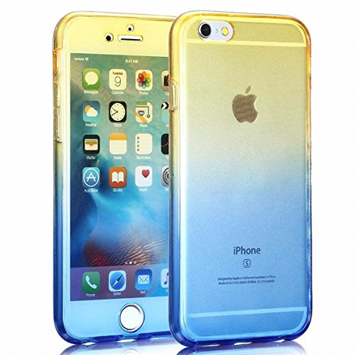 König-Shop Full TPU Case für Apple iPhone 5s SE Schutz Hülle Handy Gelb Blau Rahmen Cover