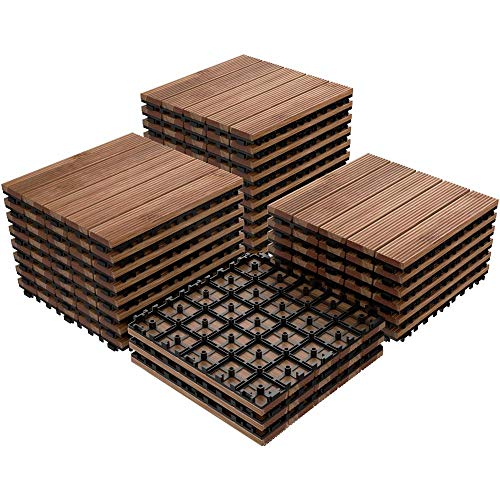 Yaheetech 27PCS Patio Pavers Interlocking Wood Composite Decking Flooring Deck Tiles Fir Wood and Plastic Indoor Outdoor Applications Stripe Pattern 12 x 12