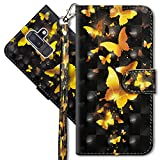 J8 2019 Wallet Case, Samsung J8 2019 Premium PU Leather Case, COTDINFORCA 3D Creative Painted Effect Design Full-Body Protective Cover for Samsung Galaxy J8 (2018). PU- Golden Butterfly