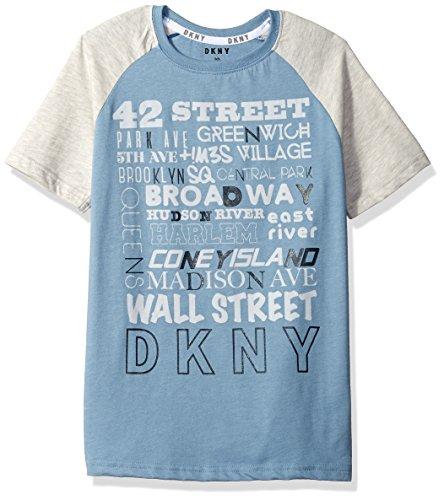 DKNY Boys Short Sleeve Color Block Crew Neck Street Names T-Shirt