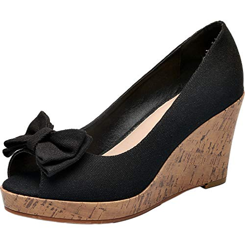 Luoika Women's Wide Width Wedge Shoes - Plus Size Heel Pump w/Round Closed Toe Bow tie Memory Foam Insole.(180311,Black Canvas,8.5WW) ()