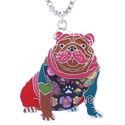 Luckeyui English Bulldog Necklace Gifts for Women Dog Lovers Novelty Pendant can be used as Keychain
