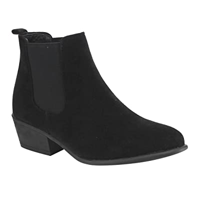 MS221 Women Chelsea Style Plain Pull On Ankle Booties Half Size Small
