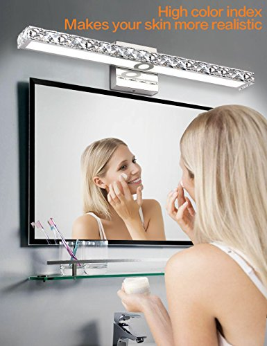 SOLFART LED Vanity Lights Over Mirror,25.4 inch 24W,Crystal Wall Lights for Bathroom Lighting Fixtures - 1.SAFETY : CE / ROHS/ QCQ certificated. FCC for the driver, IP44 waterproof and dust proof capacity. 2.EASY TO INSTALL: No switch or cord on the light. JUST Connect to the reserved wire directly,Suitable US junction box standard. 3.ENERGY SAVING: 24W LED Mirror Front Light / Warm White Light. Although only 24W, but he offers brightness more than ordinary 80W bulbs - bathroom-lights, bathroom-fixtures-hardware, bathroom - 51aumLaArlL -