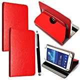 Colourful 10inch Tablet Case Cover - Universal Leather Stand Case Folio Cover Magic Leather 360° Rotating Case Fits for ALL 10' Inch & 10.1' Inch Android Tablets tab + Stylus Pen (RED CASE COVER)