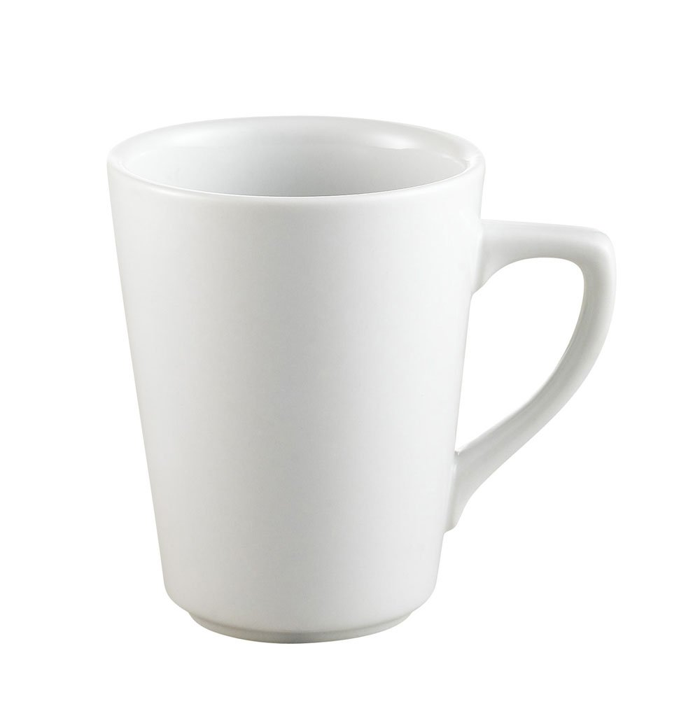 CAC China VC-8-P 8.5-Ounce Porcelain Tall Round Victory Mug, 3-Inch, Super White, Box of 36