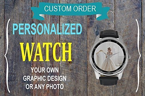 Custom Watch, Men Watch, Large Dial, Elegant, Leather, Black, Personality, Anniversary/Wedding Gift, Gift for Him, Pm us with Photo or Quotes ()