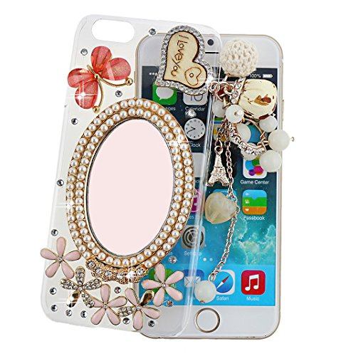 """Ancerson Hard Back Case for Apple iPhone 6 Plus (5.5"""") Golden Wooden I LOVE YOU Love Heart Eiffel Tower Lace White Pearls Rose Flowers Pendant Tassel 3D Handmade Luxury Shining Glitter Crystal Diamond Rhinestones Cover Free with a Red Stylus Touchscreen Pen, a 3.5mm Universal Crystal Diamond Rhinestones Bling Lovely Silvery Flower Blue Panda Pendant Dust Plug and a Cleaning Cloth (Transparent Clear) (Golden White Pearls Princess Make Up Makeup Mirror Pink Butterfly Daisy)"""