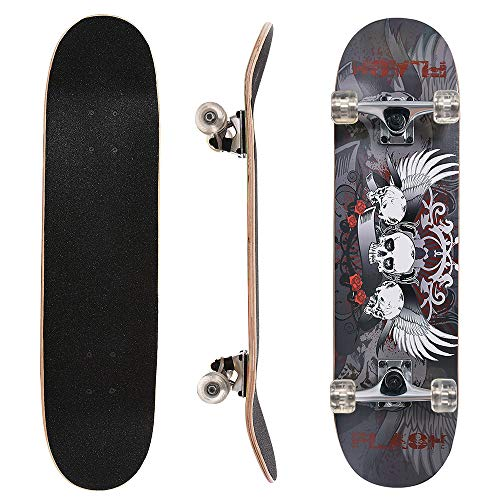 ChromeWheels 31 inch Skateboard Complete Longboard Double Kick Skate Board Cruiser 8 Layer Maple Deck for Extreme Sports and Outdoors, Gray