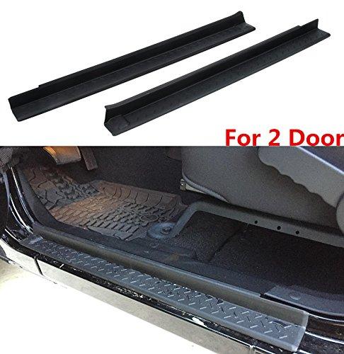AVOMAR Black Front Entry Guards Door Entry Sill Plate Protectors For 2007-2017 Jeep Wrangler 2 Door