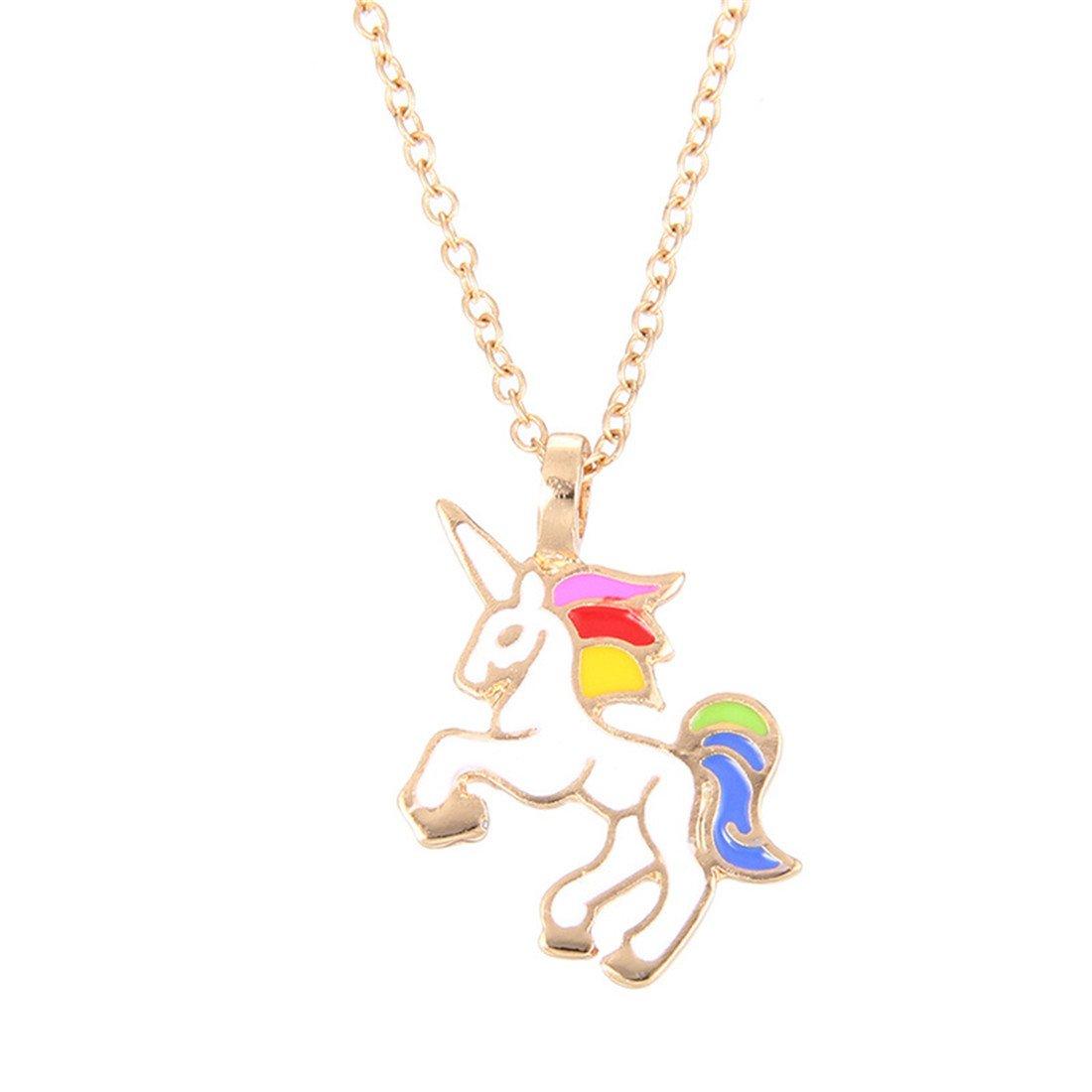 VWH 1 pcs Women Girls Alloy Necklace Unicorn Pendant Clavicle Bone Chain Necklace Jewelry Gift
