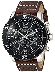 Invicta Mens Aviator Quartz Stainless Steel and Leather Casual Watch, Color:Brown (Model: 24552)