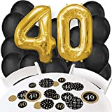 Adult 40th Birthday - Gold - Confetti and Balloon Birthday Party Decorations - Combo Kit