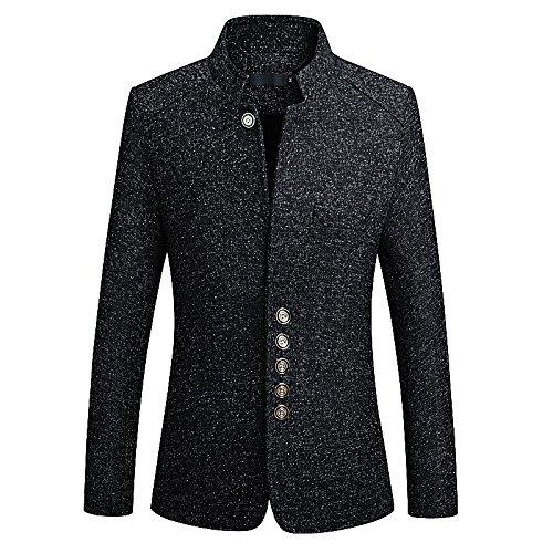 Noir YHNSXZ Costume Homme,Costume,Boutique décontractée pour Hommes en Costume Homme Stand Collier métal Bouton Affaires Blazers Veste XL