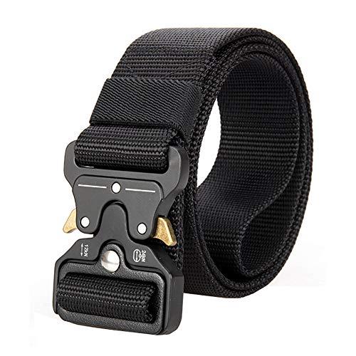 Haowen Men's Tactical Rigger Belt, Heavy Duty Webbing Belt Adjustable Military Style Nylon Belts (Black)
