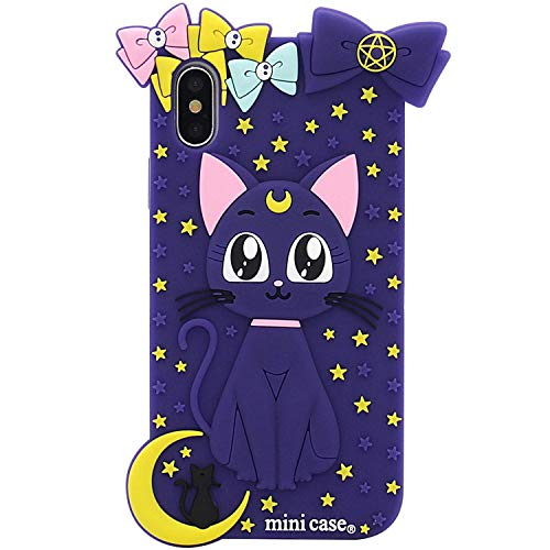 iPhone Xs Max Case, MC Fashion Cute 3D Japan Cartoon Sailor Moon Crystal, Soft and Slim Silicone Case for Apple iPhone Xs Max (2018) 6.5-Inch (Luna Cat/Purple)