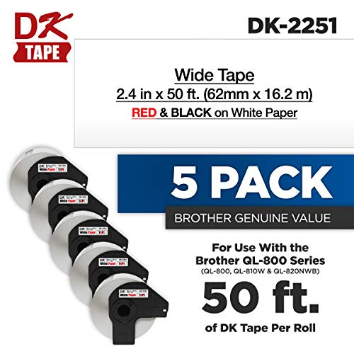 Brother Genuine DK-2251 5-Pack Black & Red Print on Continuous Length White Paper Tape, 2.4