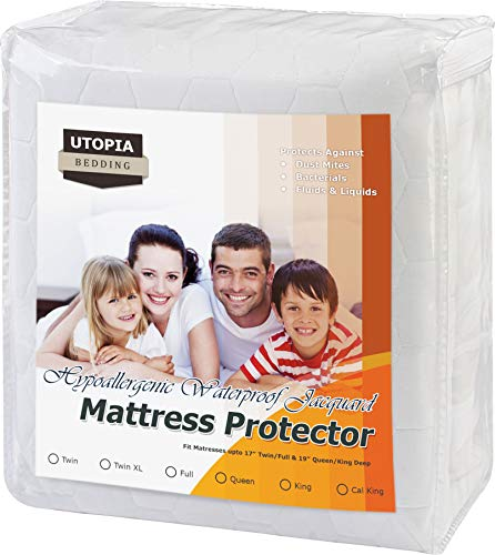 King Size Utopia Bedding Premium Waterproof Mattress Protector - Hypoallergenic and Vinyl Free Fitted Mattress Cover with Knitted Skirt - Breathable Cool Flow Technology Mattress Pad