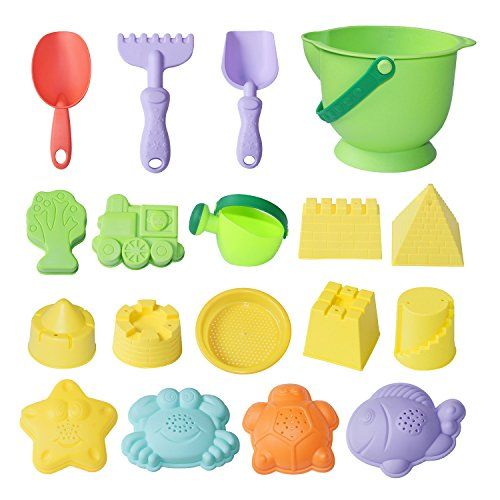 MEIGO Beach Sand Toys - Toddler Outdoor Pool Bath Play Set Soft Plastic Sandbox Toys with Models and Molds Bucket Shovel Rake Mesh Bag for Baby Kids (18pcs)