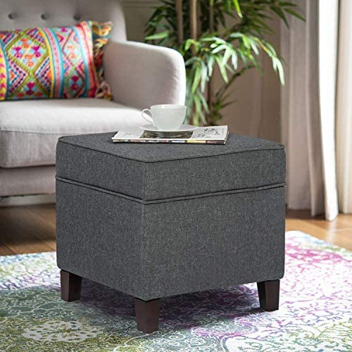 Homebeez Storage Ottoman Square Fabric Footrest Stool Bench
