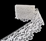 eZthings® Venise Edging Lace Trim From Eyelet Fabric For DIY Craft Venice Trims (3 Yard, Mini Flowers)