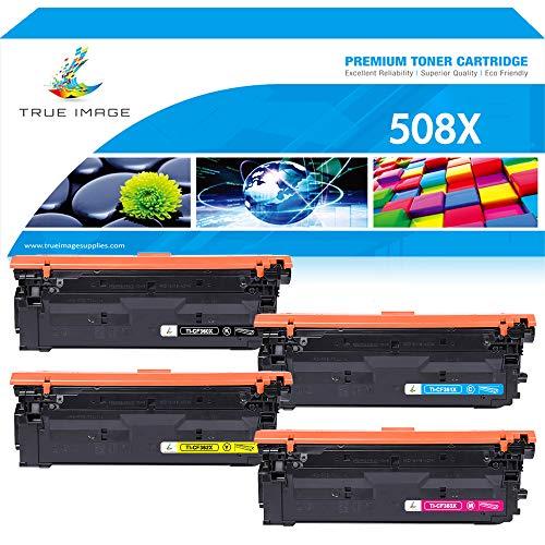 True Image Compatible Toner Cartridge Replacement for HP 508X 508A CF360A CF360X CF361X CF362X CF363X HP M553 Toner HP Color Laserjet Enterprise M553dn M577dn M553X M553N M552DN M577 M553 Printer Ink