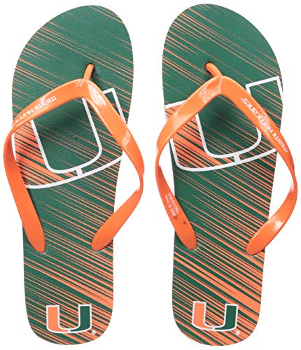 NCAA Miami Hurricanes Unisex Diagonal Stripe Fade FLIP FLOPMIAMI Unisex Diagonal Stripe Fade FLIP Flop - Extra Large, Team Color, XL