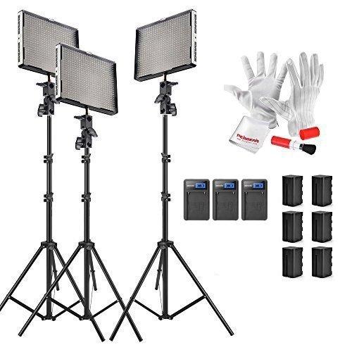 Aputure Amaran AL-528Kit(AL-528C + AL-528W + AL-528S) 528 LED Video Light Panel Video Lighting Kit with Pergear Clean Kit