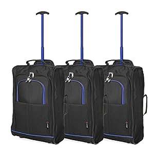 """Juego de 3 21""""/55cm 5 Cities Cabina Aprobada de equipaje de mano de peso ligero Trolley Bolsas Para Ryanair / Easyjet (Azul + Negro)"""