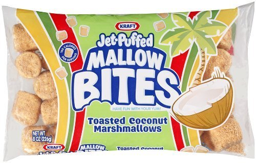 Kraft, Jet-Puffed, Mallow Bites, Toasted Coconut Marshmallows, 8oz Bag (Pack of 4) by Jet-Puffed