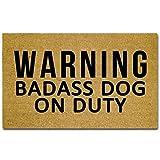 hiusan Warning Badass Dog On Duty DFunny Inside Outside Non Slip Home Front Door Mats Entrance Hallway Doormats Floor Mat Bathroom Mats Rugs 40x60 cm