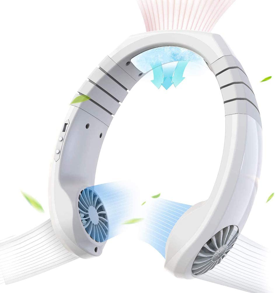 Zoomarlous Hand Free Portable Fan, Hanging Neck Fan, Personal Air Conditioner Neck Fan Cooler Smart Cooling Neckband Fan(Cooling Within 2s') 3 Speed USB Rechargeable