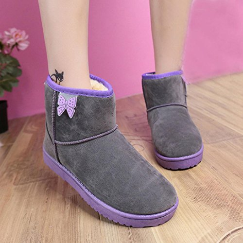 Transer® Damen Stiefel & Stiefeletten Herbst/Winter Warm Schuh Baumwolltuch+Gummi (Bitte achten Sie auf die Größentabelle. Bitte eine Nummer größer bestellen. Vielen Dank!) Grau