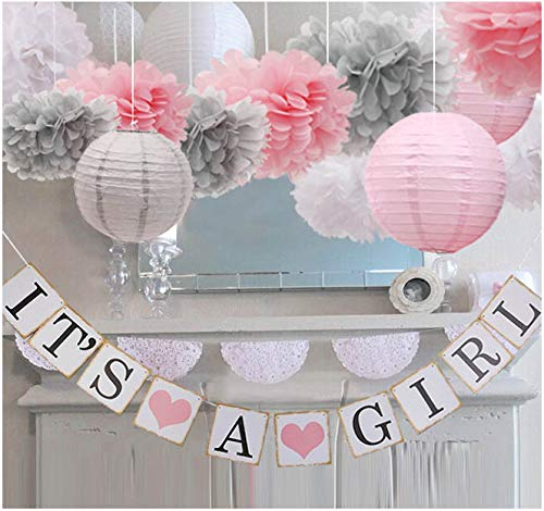 Girl Baby Shower Banner (luckylibra Baby Girl Baby Shower Decorations, It is a Girl Banners and Paper Lantern Paper Flower Pom Poms (Pink White)