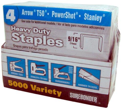 Surebonder 55999 No.4 H.D. 1./4-Inch, 3/8-Inch, 1/2-Inch, 9/16-Inch Staple Variety Pack