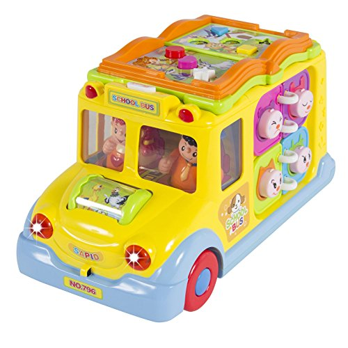 Eight24hours Toy Educational Musical Yellow School Bus Bump'n'Go, Headlights, Music and Games