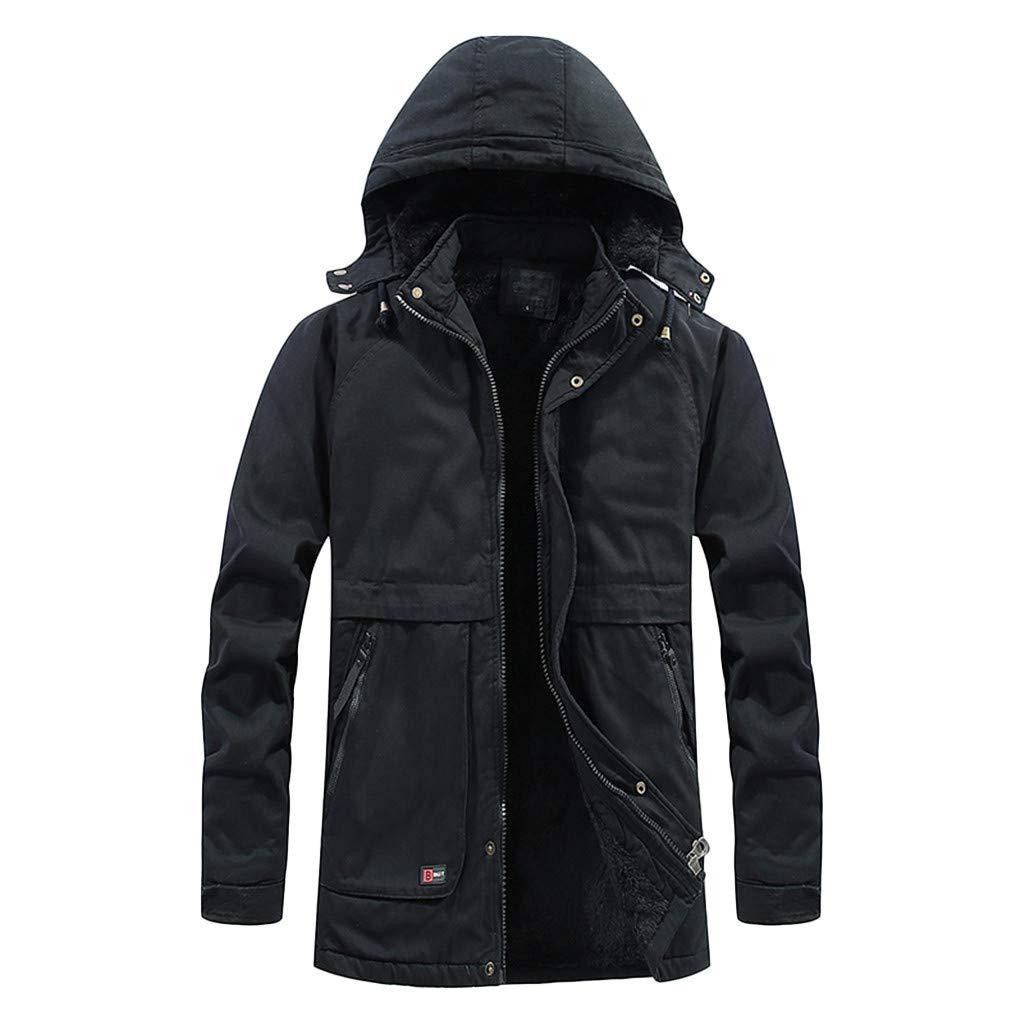 Men's Winter Hooded Windproof Jacket, Adult Tactical Outdoor Windbreaker Thick Warm Padded Winter Coat (X-Large, Black) by LANTOVI Men Outwear